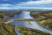 An artist drawing of the Site C Dam project.