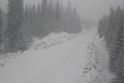 The Paulson Summit is already been hit with more snow on the highway. — Photo courtesy DriveBC